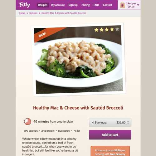 Fitly recipe detail page (tablet)