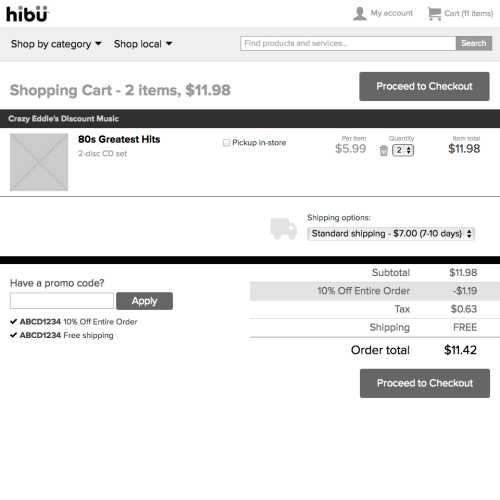 hibu Marketplace HTML prototype (shopping cart, desktop)