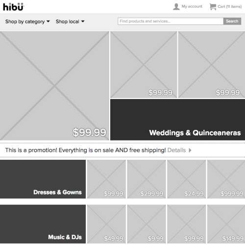 hibu Marketplace HTML prototype (category page, desktop)
