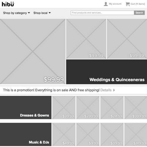 hibu Marketplace HTML prototype (category page, desktop)
