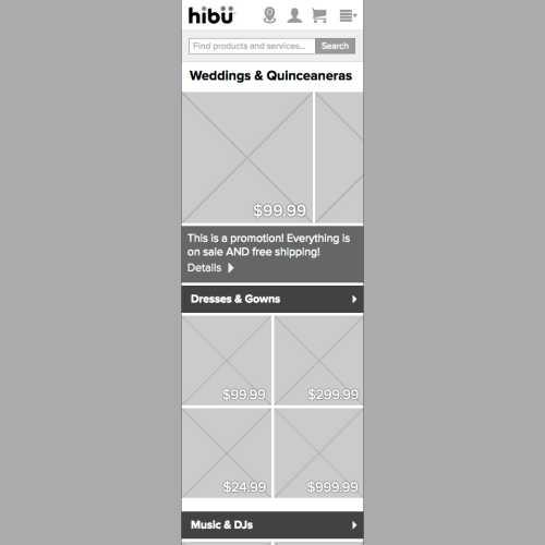 hibu Marketplace HTML prototype (category page, mobile)