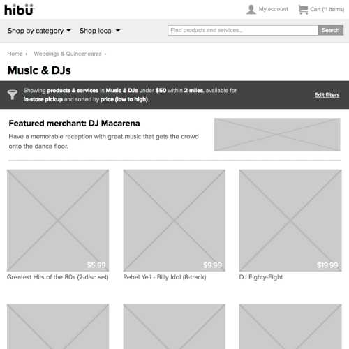 hibu Marketplace HTML prototype (search results, desktop)