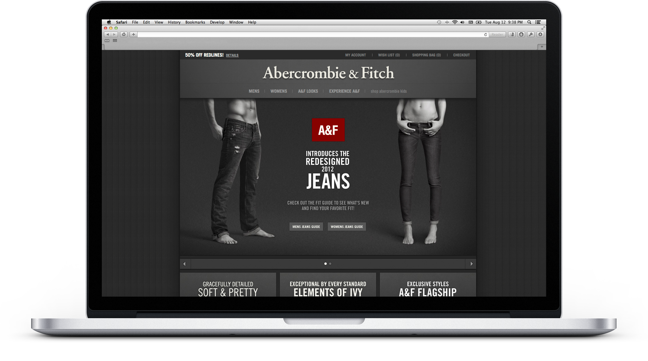 Abercrombie & Fitch products displayed on various devices (laptop, tablet, phone, etc.).