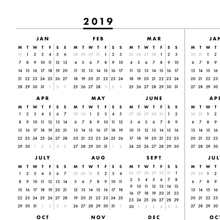 This is a graphic of Obsessed 2020 Year at a Glance Printable