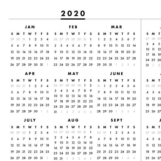 無料ダウンロード 2020 1 Page Printable Calendar - ケンジ