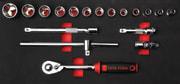 3/8 skrallesett i modul for verktøyvogn