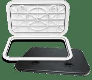 BOMAR Inspeksjonsluke i kraftig UV stabil plast, skjulte skruehull