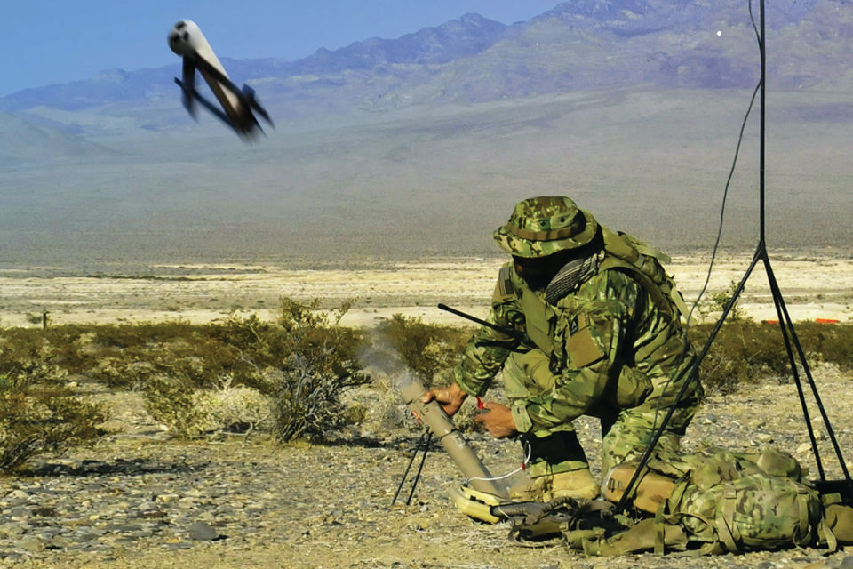 The AeroVironment Block 10C digital Switchblade Tactical Missile System in action