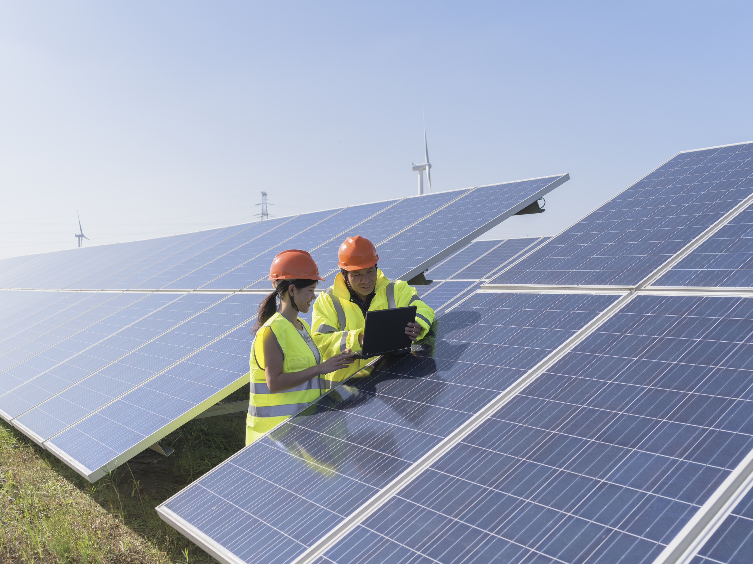 Solar Panel Utility Workers