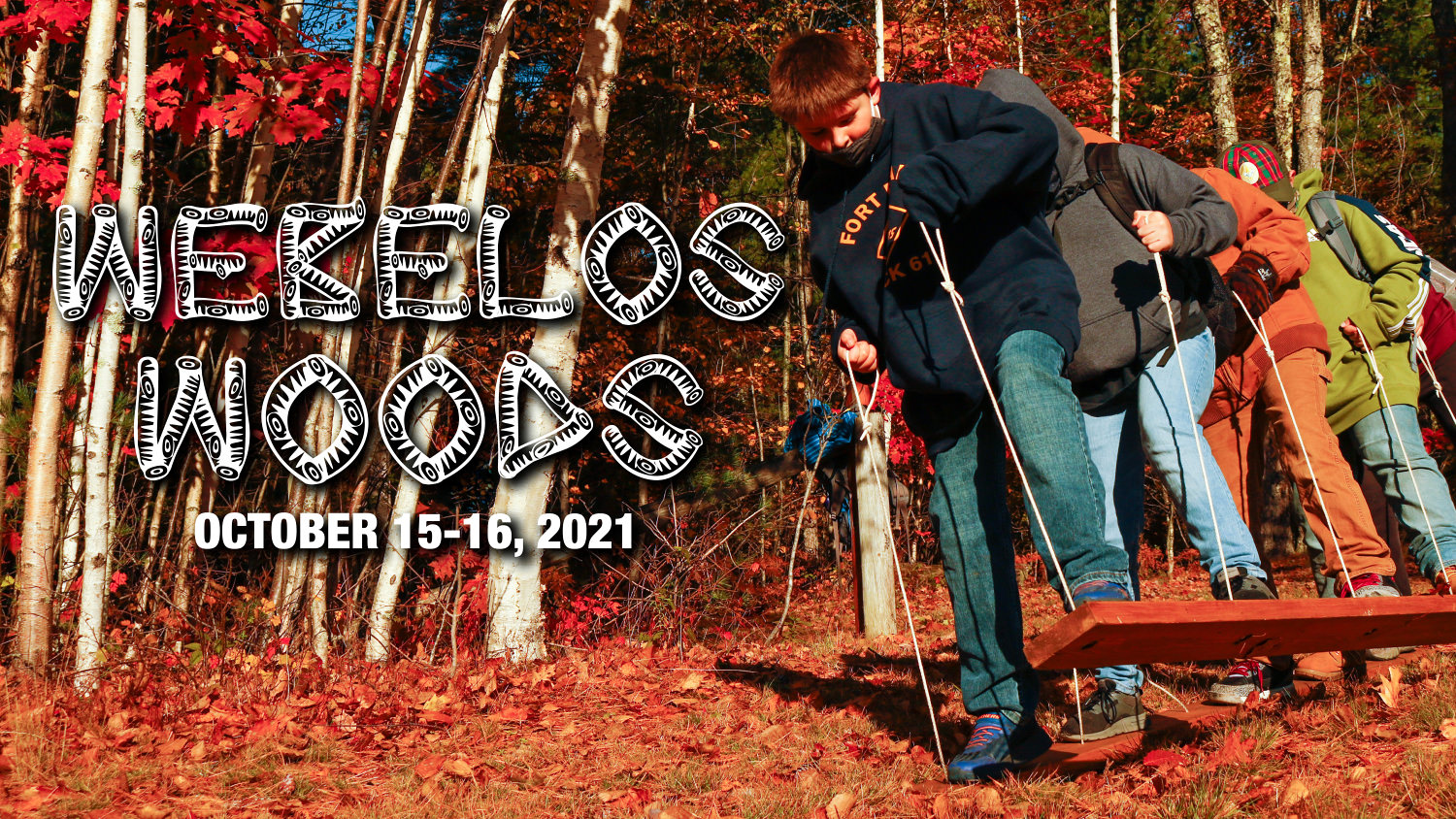 Webelos Woods advertisement with picture of kids playing