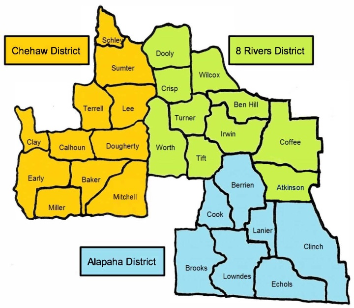 The Council is organized into three Districts.