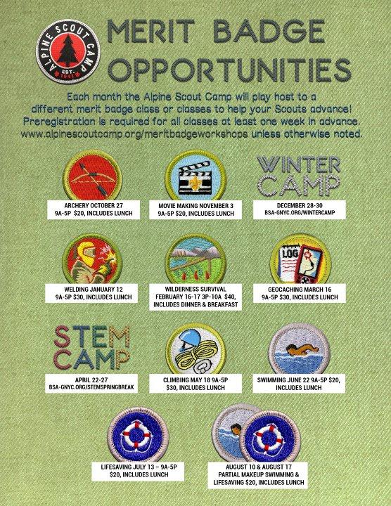 Merit Badge Workshops Alpine Scout Camp