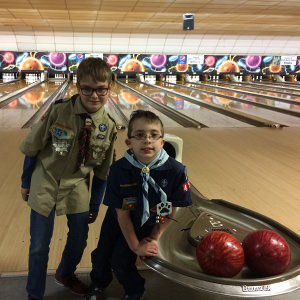Cub Scouts enjoy a Bowl-o-Rama - Feb 2017