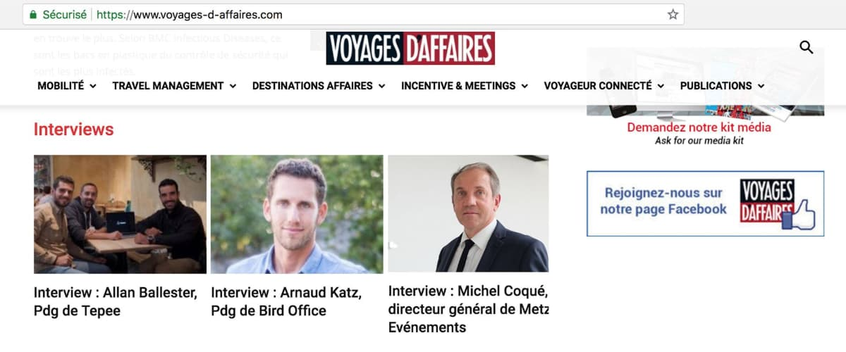 Voyages d'Affaires about Tepee - Allan interviewed