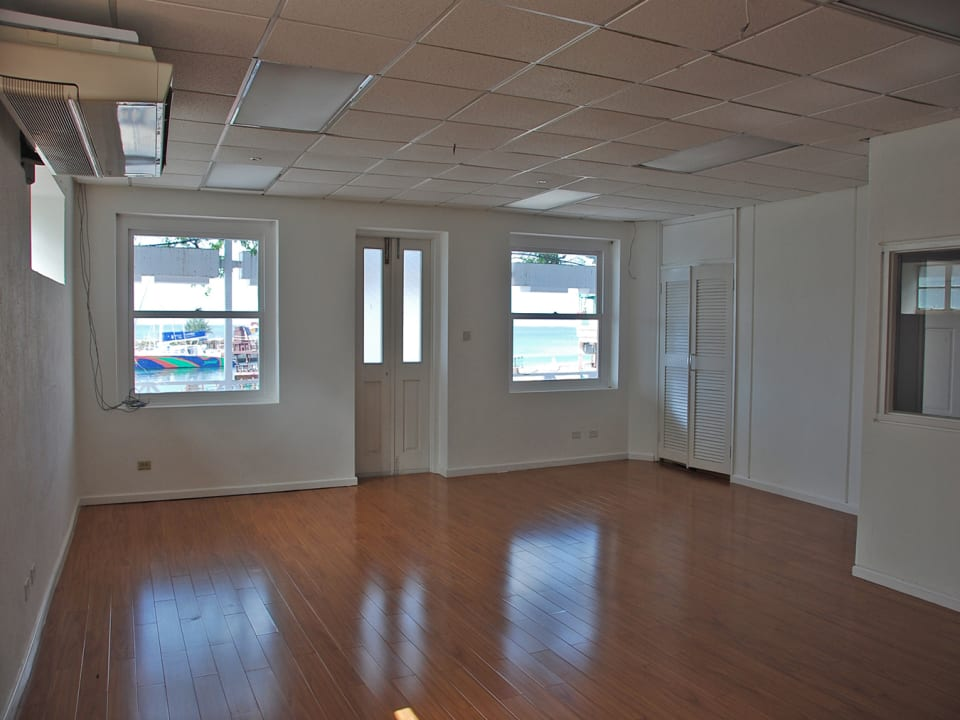 Upstairs office space with views of the Careenage