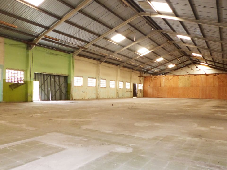 Open warehouse with large entrance doors