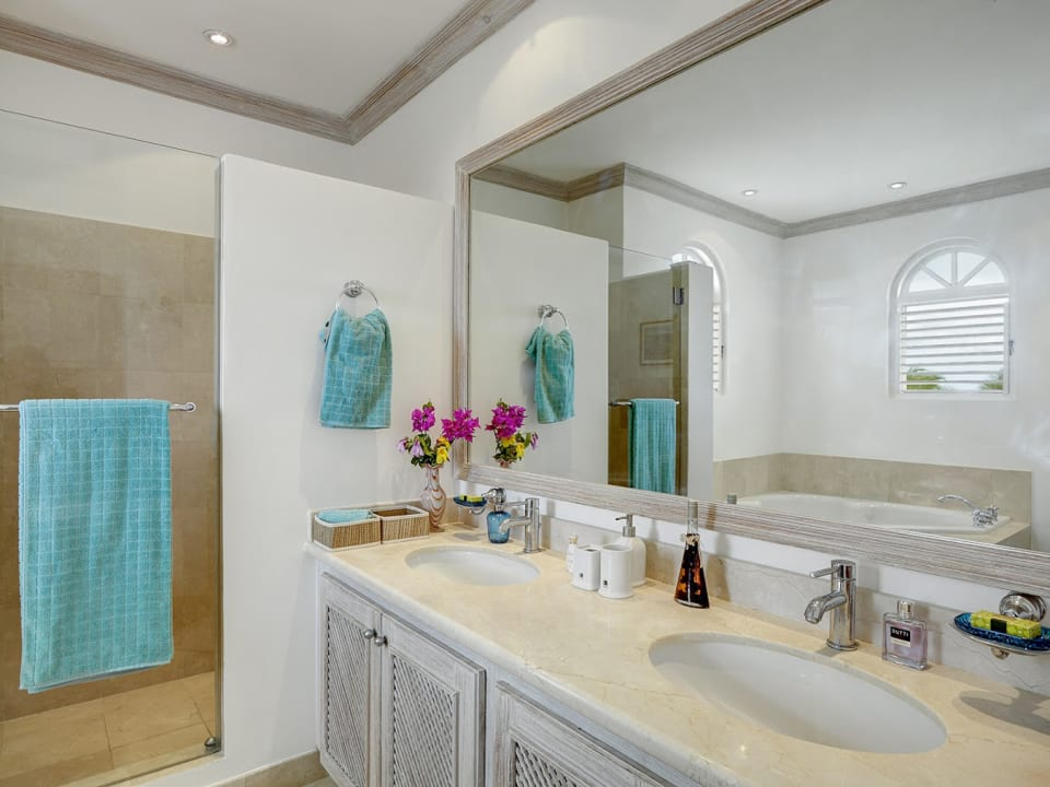 Master bathroom with double vanity sink