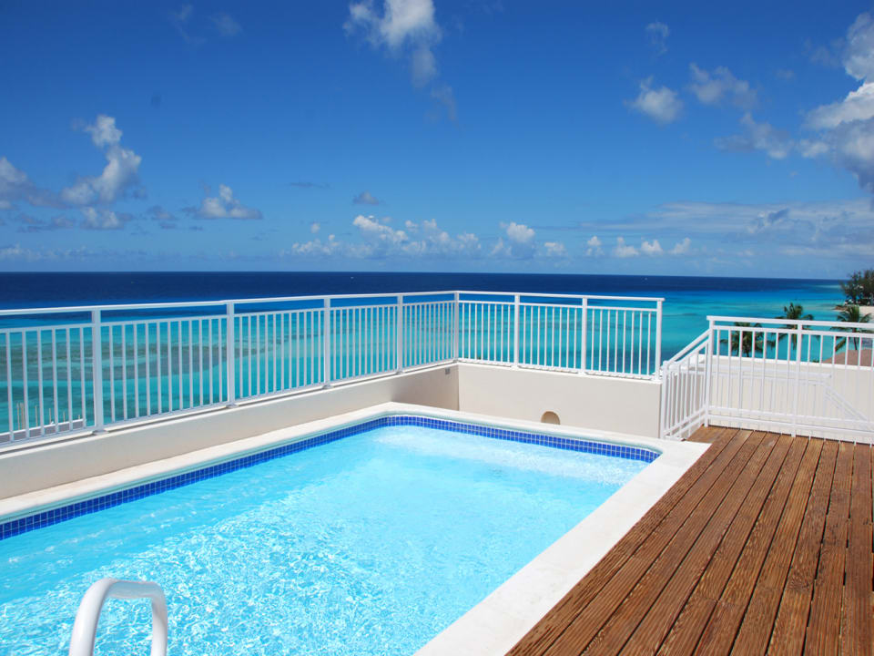 Pool deck with ocean views