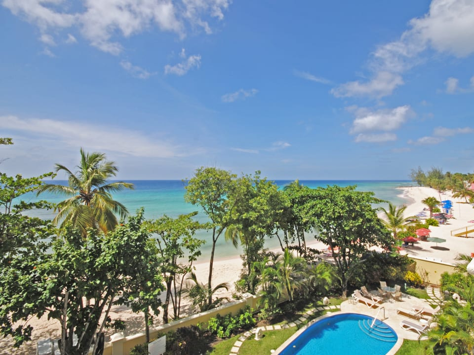 View of one of the pools and the beautiful Dover beach