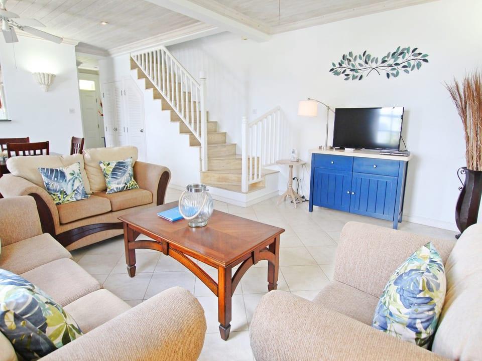 Comfortable sitting room opens to veranda