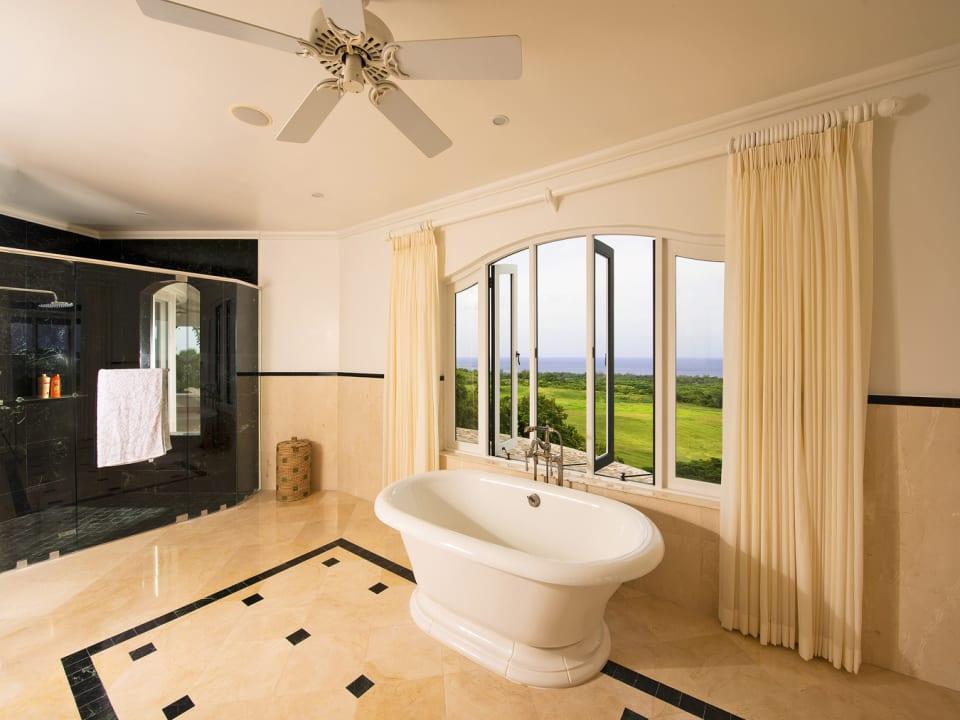 Master bathroom with double vanity sink