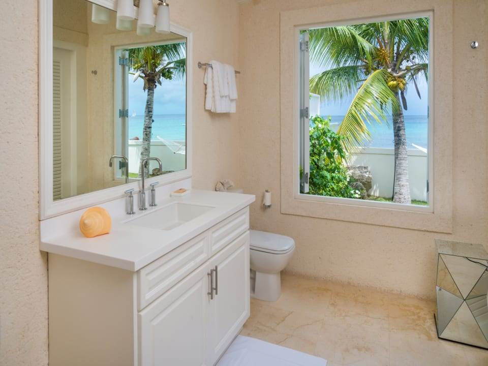 Master bathroom with views of the sea