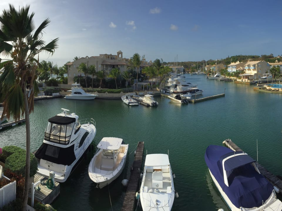 View from balcony of lagoon and 60 foot boat berth