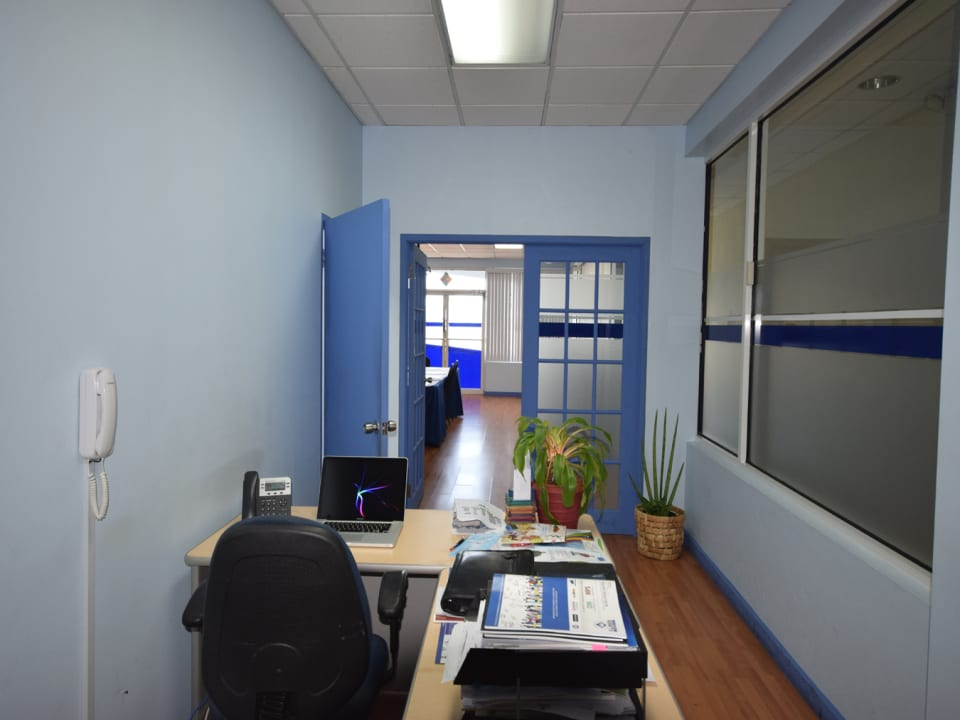 Office area to the rear of the space