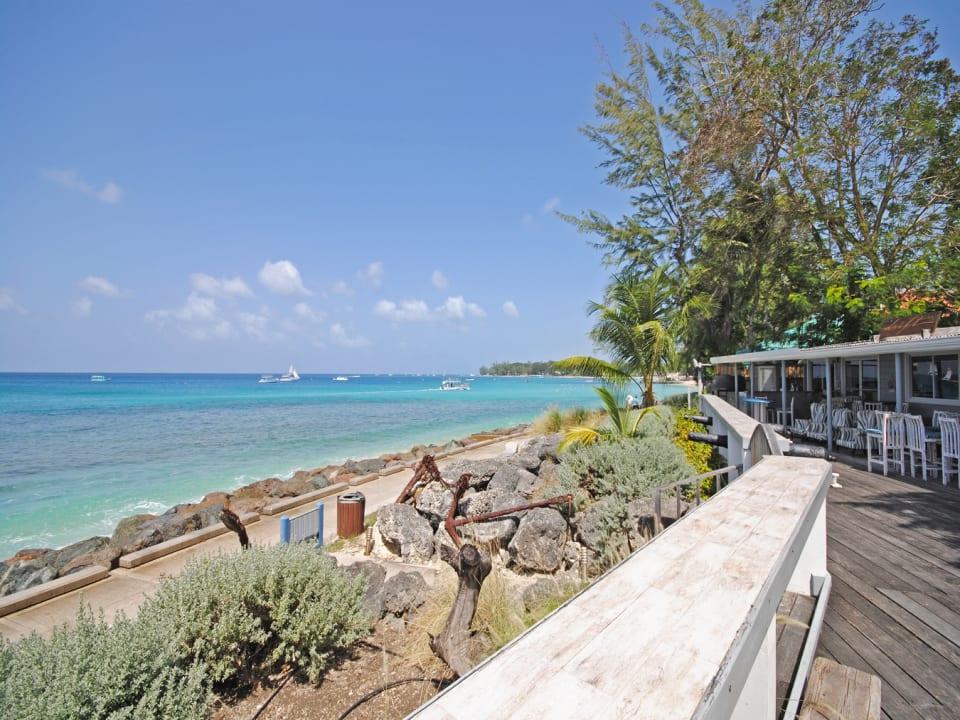 View of West Coast boardwalk from Beach House restaurant