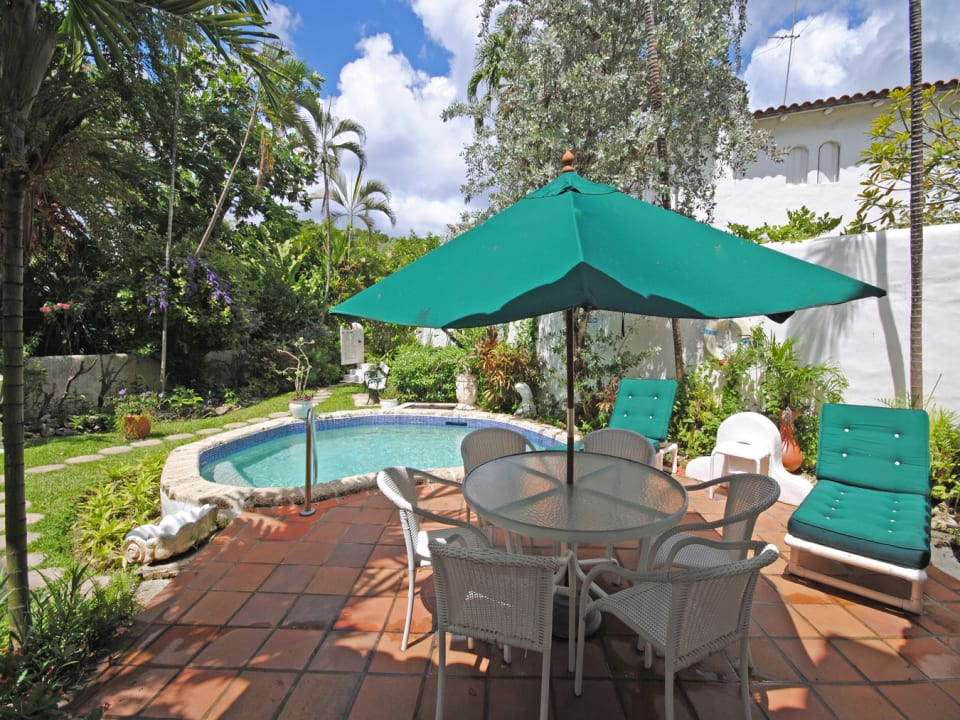 Pool side terrace and private garden and plunge pool
