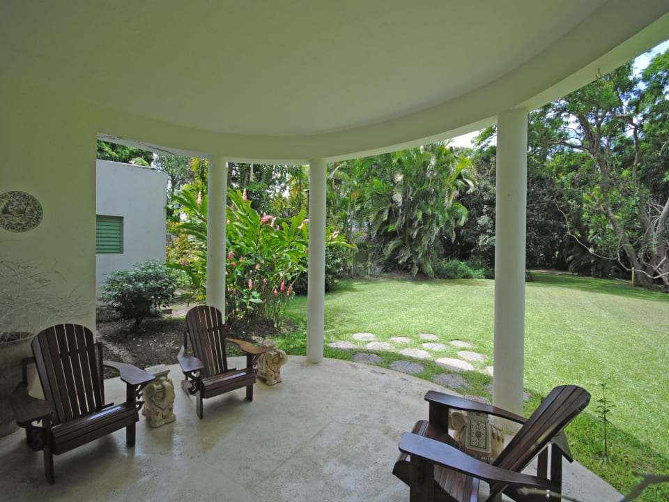 Veranda off the dining room opens to garden