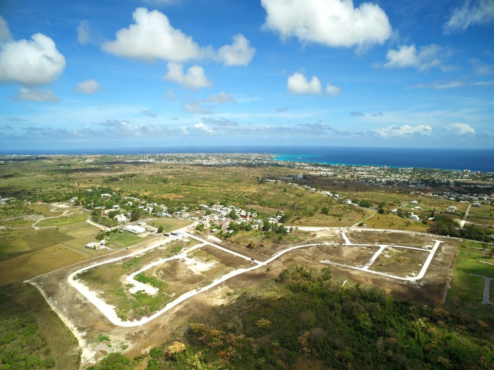 Aerial view of the development