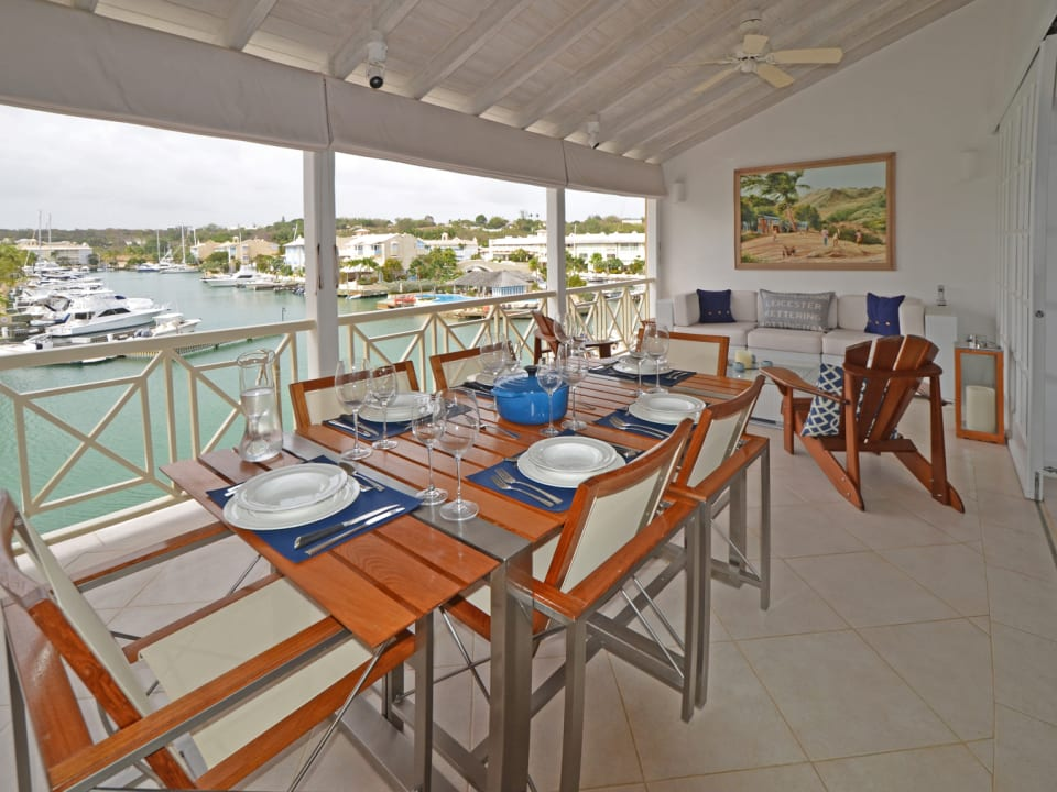 Dining veranda has great sea and lagoon views