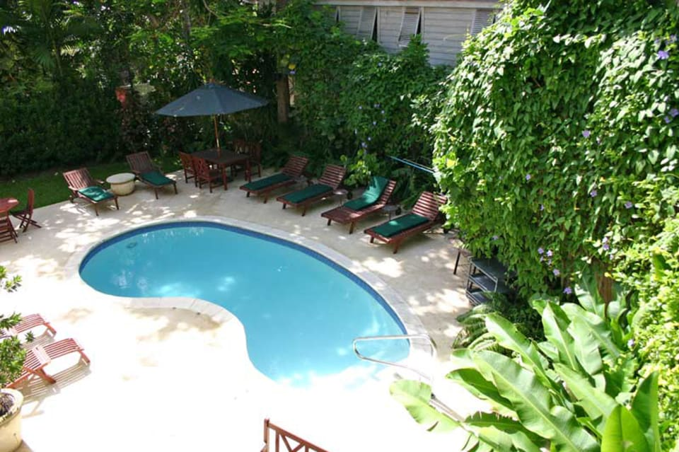 View of swimming pool from upstairs