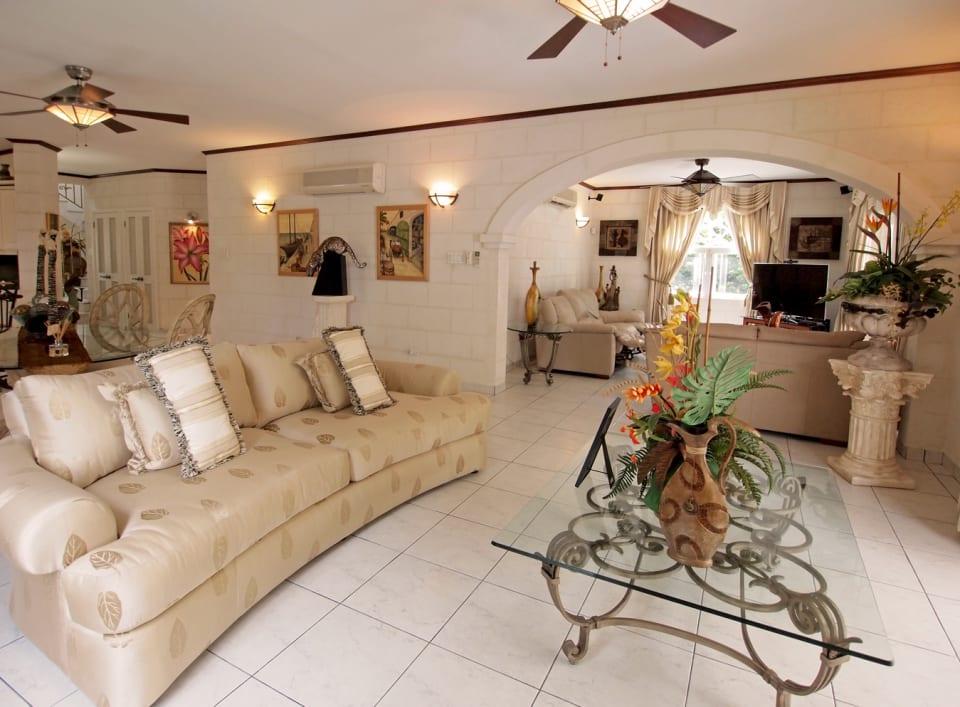 Living room leading into TV/media room