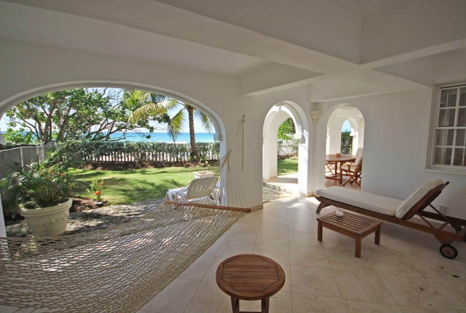 Covered patio with sea view