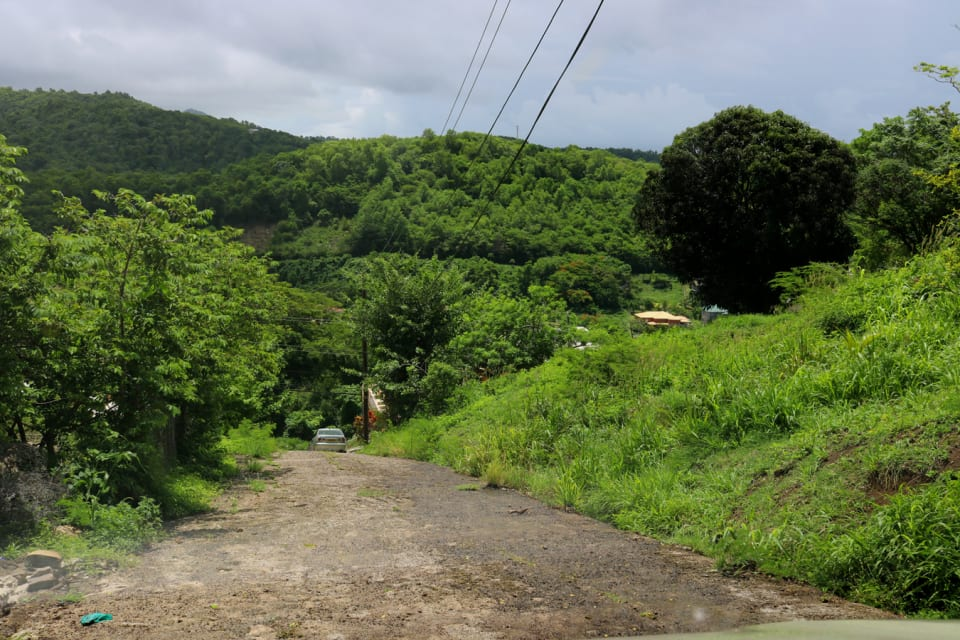 Paved access road alongside lot