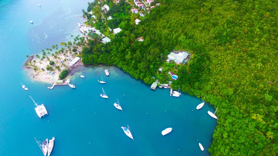 Aerial View of Marigot Bay & Mango Beach Inn