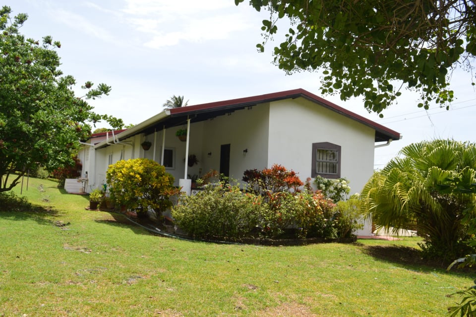 View of Rodney Bay Villa from the backyard