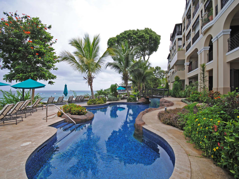 Main terrace and large lagoon style swimming pool