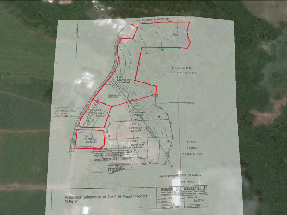 Site plan showing the 3 lots for sale including Lot 6