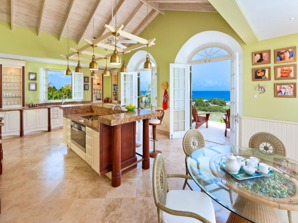 Well equipped kitchen and breakfast area open to sea views