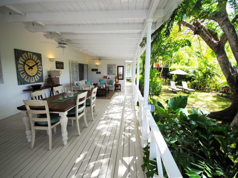 Dining veranda opens to the garden
