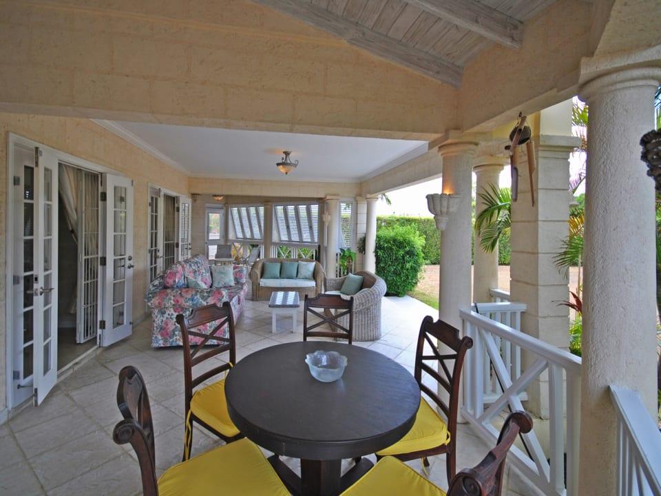 Dining on covered verandah