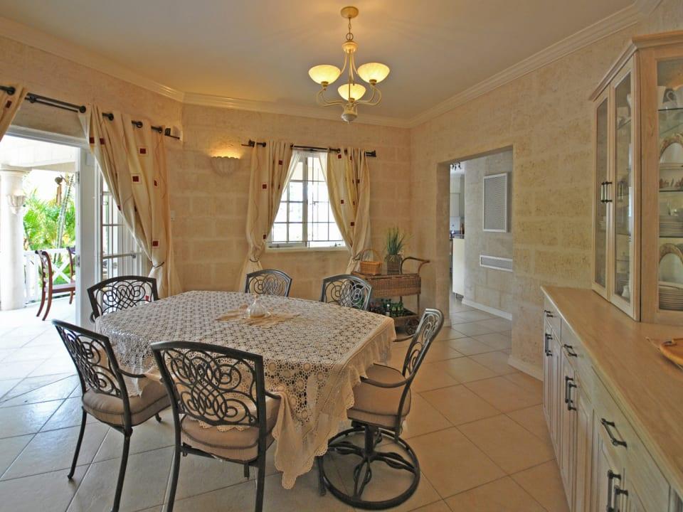 Formal dining room opens to verdandah