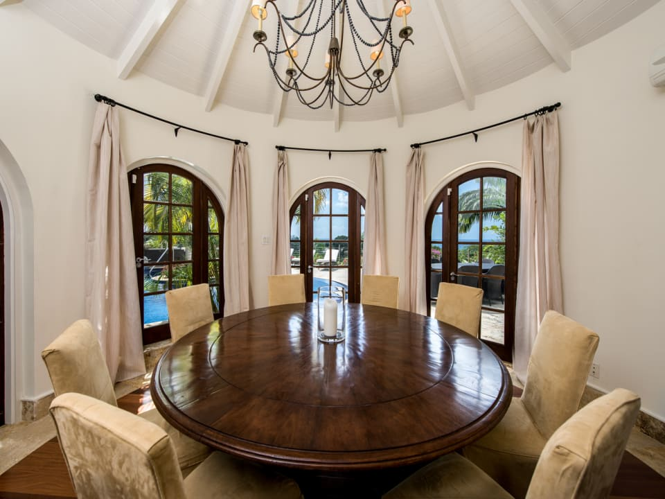 Formal dining room with table that seats 9