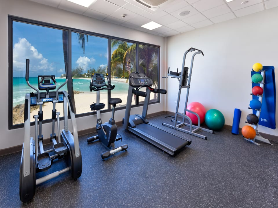 Air-conditioned gym with stunning views