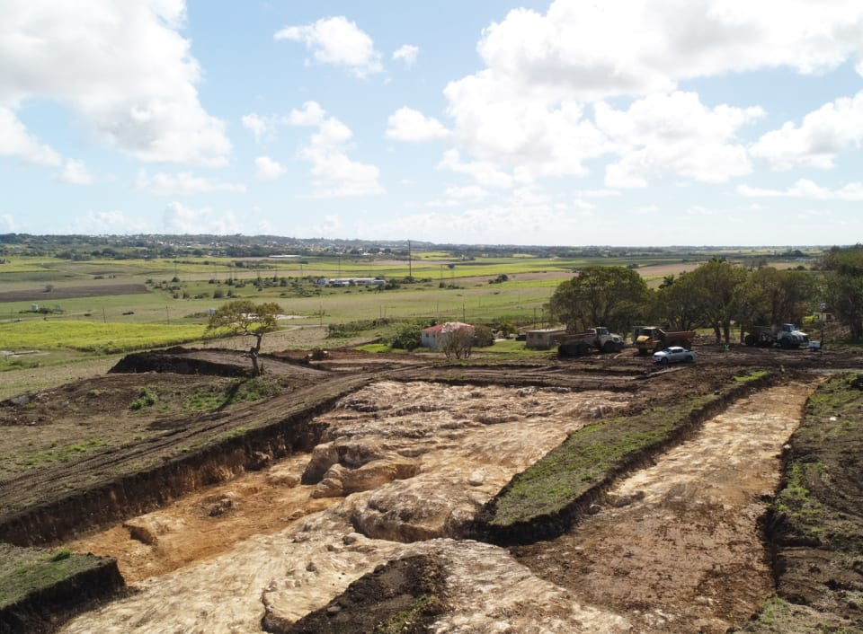 Aerial view showing site excavation