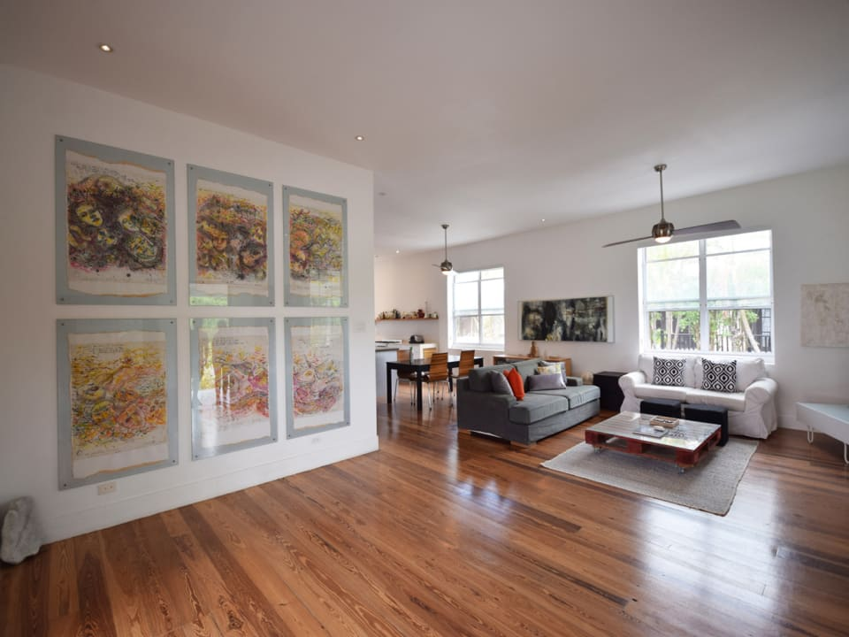 Foyer and Living Room with Solid Wooden Floors
