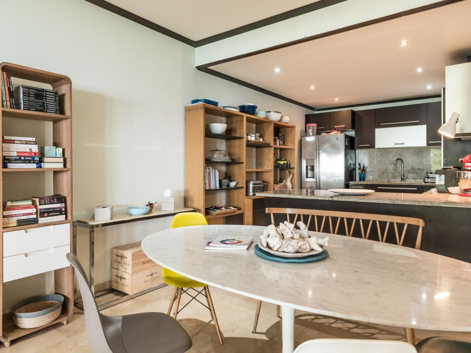 Indoor dining and modern kitchen